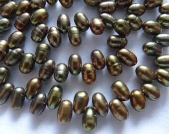 """16"""" Strand Freshwater Pearls Potato Top Drilled Green Brown 6 to 8mm Long #76"""