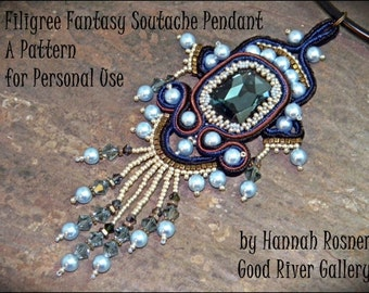 RECENTLY UPDATED - Bead Pattern Soutache Filigree Fantasy Pendant tutorial instructions - peyote stitch & embroidery beading - Hannah Rosner