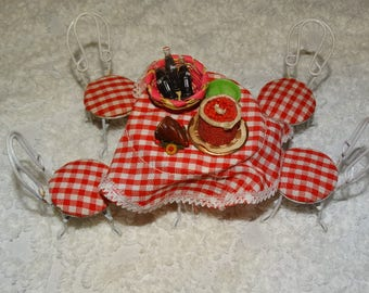 Miniature Victorian Doll Furniture Table, 4 parlor chairs, Coke Bottles, Coca Cola, Picnic Metal Furniture, Checkered tablecloth, Christmas