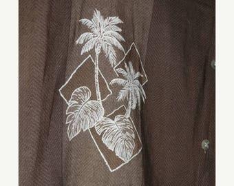 Men's Hawaiian Shirt 90's Campia FASHION Palm Trees, Tropical Beach Hut,- XL - Beach Attire, 100% Rayon, Luau Men's Shirt, Surfer