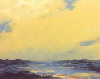 """SAFFRON SOFT, oil painting, landscape, original, 100% charity donation, 9""""x12"""" canvas panel, clouds,"""