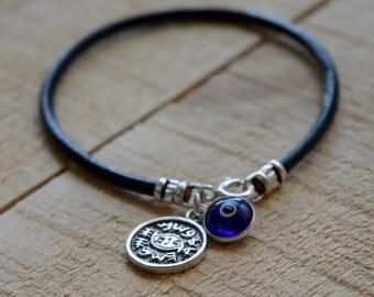 Blue on Leather Evil Eye Protection Bracelet for Men & Women