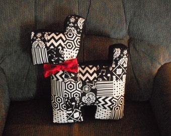 Patchwork Scottie dog Pillow- Accent Pillow/ Cuddly Toy