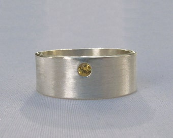 Sapphire Silver Ring, Wide Silver Ring, Silver Cigar Band