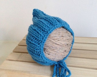 REDUCED ...RTS ... newborn blue hand knitted ribbed Pixie bonnet