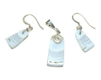 Quartz sterling silver pendant and earrings