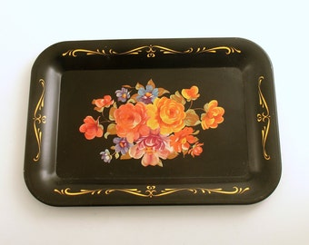 Vintage Tole Tray Flowers Metal Tip Tray