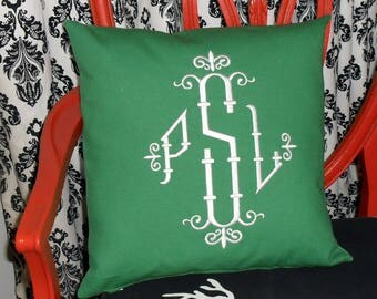 """Bamboo Monogram Pillow -16X16""""- Chinoiserie-Hollywood Regency-Palm Beach Glam -Great Gift Idea"""