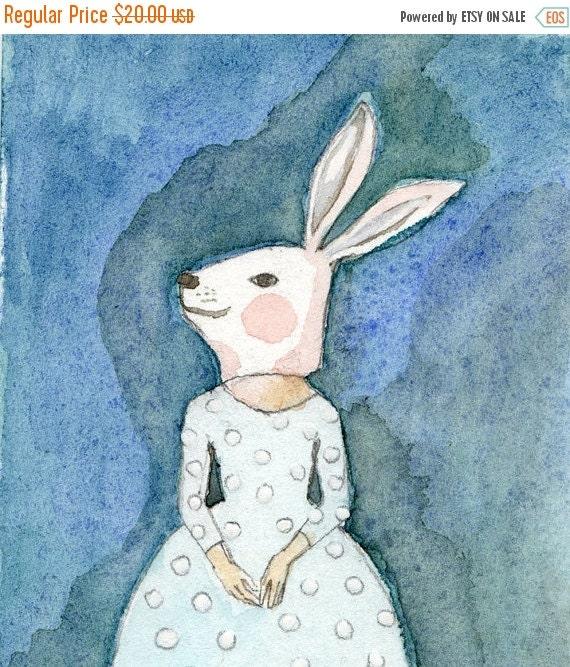 SALE Girl in Bunny Mask Deluxe Edition Print of original watercolor