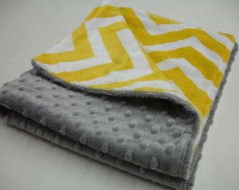 Yellow Chevron and Gray Minky Receiving Blanket Double Sided 20 x 24 READY TO SHIP