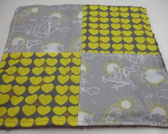 Owls You Are My Sunshine Yellow and Gray Four Square Baby Minky Burp Cloth 12 x 12 READY TO SHIP