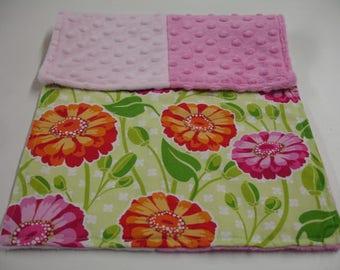 Zinnia Garden Baby Burp Cloth 11 x 17 READY TO SHIP