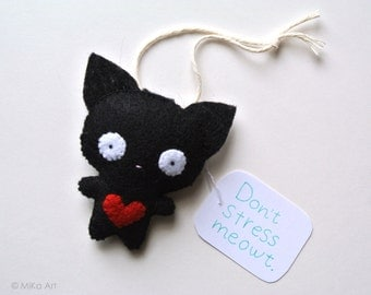 Black Cat Ornament Funny Gift for Cat Lovers Felt Black Cat Office Decor Gift for Pet Lover Don't Stress Meowt Cute Black Cat Felt Animal