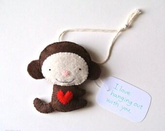 Monkey Ornament Monkey Wall Hanging Cute Monkey Felt Animal Monkey Stuffed Animal Plush Monkey Office Decor Funny Monkey Gift for Friends
