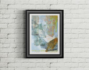 Crouching Tiger - Giclee Fine Art Print Mixed Media Painting