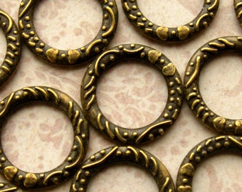 Antique Bronze Linking Rings 14mm - 20 Pieces - Bronze Circle Charms Connector Rings, Lead Free,Nickle Free (GFD0032)