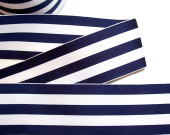 Wired Ribbon, Navy Blue and White Stripe Grosgrain Wired Ribbon 2 1/2 inches wide x 5 yards, Offray Mono Stripe, SECOND QUALITY FLAWED