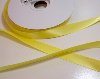 Yellow Ribbon, Double-Face Yellow Satin Ribbon 5/8 inch wide x 50 yards, Offray Lemon Yellow Ribbon