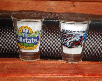 Vintage Set of Indianapolis Motor Speedway Racing Shot glasses,Great Racing Bar Ware,Great Set of Shot Glasses