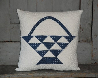 Old Blue Flower Basket Quilt Pillow | Vintage Quilt Pillow | Antique Quilt Pillow | Cutter Quilt Pillow |  Listing Is For 1 Pillow