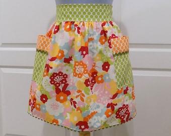 Womens Retro Half Apron Modern Chic Cute Kitchen Waist Aprons with Pockets