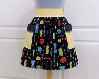 Retro Kitchen Half Apron Womens Cute Vintage Style Waist Aprons with Pockets