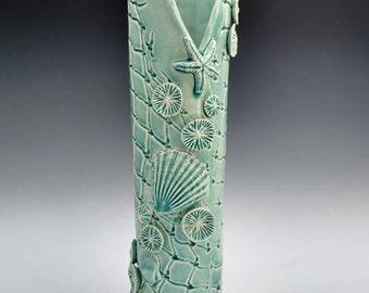 Large blue flower vase, Sale ocean art coral reef fishnet vase. Coastal decor sculpture. Functional ceramic art by Chelsea Mae