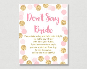 Blush Pink & Gold Don't Say Bride Game / Glitter Bridal Shower / Glitter Dots / Confetti / Bridal Ring Game / INSTANT DOWNLOAD B107