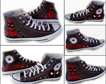 Deadpool, Comics, Chuck Taylor, Converse Hi Top, Wedding Shoes, I Do, Geek, Comic Con, Sneakers, Shoe Color Black or Grey, Shoes Included