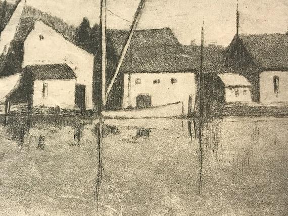 A. Graeme Mitchell (1889-1941) Etching of a Village Harbor