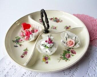 Vintage Floral Handled Divided Dish