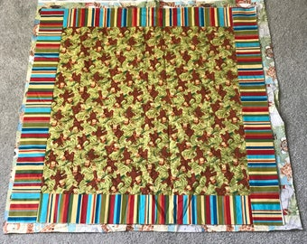 """Monkey and Jungle Animals Themed     Unfinished Quilt 35"""" x 35""""     Includes Quilt Top, Batting and Backing"""