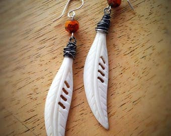 White Carved Bone Feather with Burnt Orange Earrings Boho Bohemian Hippie Tribal