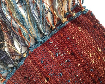 handwoven scarf in a rich rust brick brown chenille