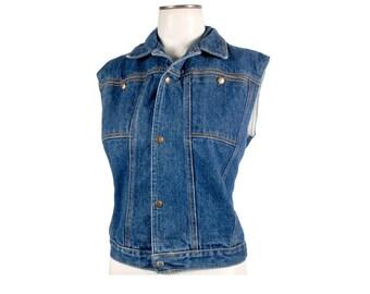 Vintage 80s Vest - 80s Denim Vest - 80s Jeans Vest - Landlubber Jeans - 80s Landlubber - Landlubber Vest - NOS - 80s Rocker Vest - M - L