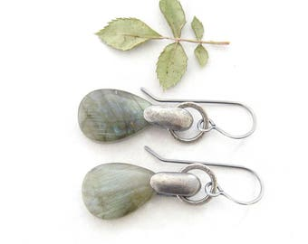 labradorite and silver earrings, gemstone dangle earrings, oxidized silver jewelry, blue green dangle earrings