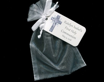 Personalized First Communion Favor Bags - First Communion Tags - Personalized Tags - Silver - Cross - White Organza Bags - 4 X 6 Organza Bag
