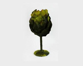 Green Leaf Goblet, Wine Glass, Cup, Flower, 15 oz., Fairy, Wedding, Woodland Cup, Renaissance Faire, Birthday, Drinkware, Mug