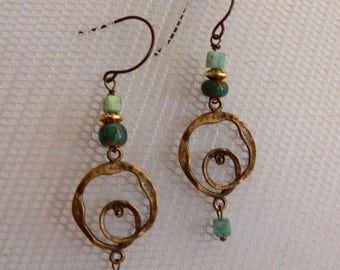 Gypsy, Bohemian Antique Bronze and Turquoise Circular Earrings,Gift under 15, Boho Earrings, Bronze Dangle Hippie Earrings, Chandelier