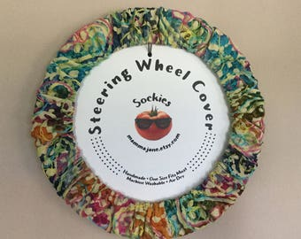 Colorful Embroidered Batik Steering Wheel Cover