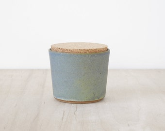 mini cork jar, blue/green.
