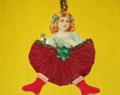 Victorian Girl Crepe Paper Christmas Ornament