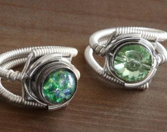 Two Steampunk rings, Vintage Green Harlequin chrysolite swarovski crystal ring ring