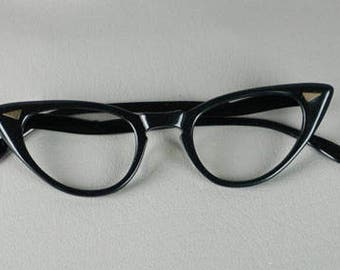 Vintage 1950s Eyeglasses Eye Glasses Black Cateye Frames by Foremost