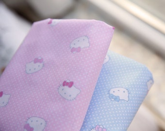 4363 - Hello Kitty Polka Dot Cotton Fabric - 62 Inch (Width) x 1/2 Yard (Length)