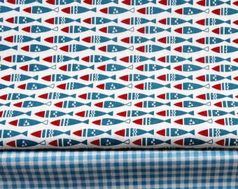 4548 - Fish & Gingham Cotton Fabric - 62 Inch (Width) x 1/2 Yard (Length)
