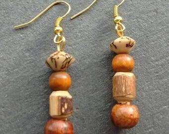 Brown Wood Earrings, Wood Earrings, Boho Earrings, Brown Earrings, Ethnic Earrings, Gift For Her, Wooden Bead Earrings, Festival Earrings,