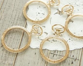 4 pcs Open Bezel Charm/ Round Pocket Watch (30mm43mm) Medium Size/ Gold AZ479