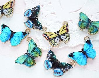 4 pcs Butterfly Print Metal Charm (12mm20mm) AZ519