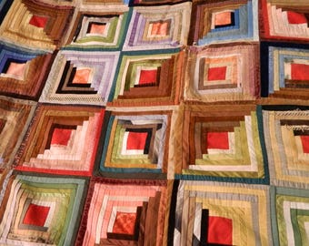 Vintage Colorful Log Cabin Quilt in Velvet and Silk with Ruffle Edge